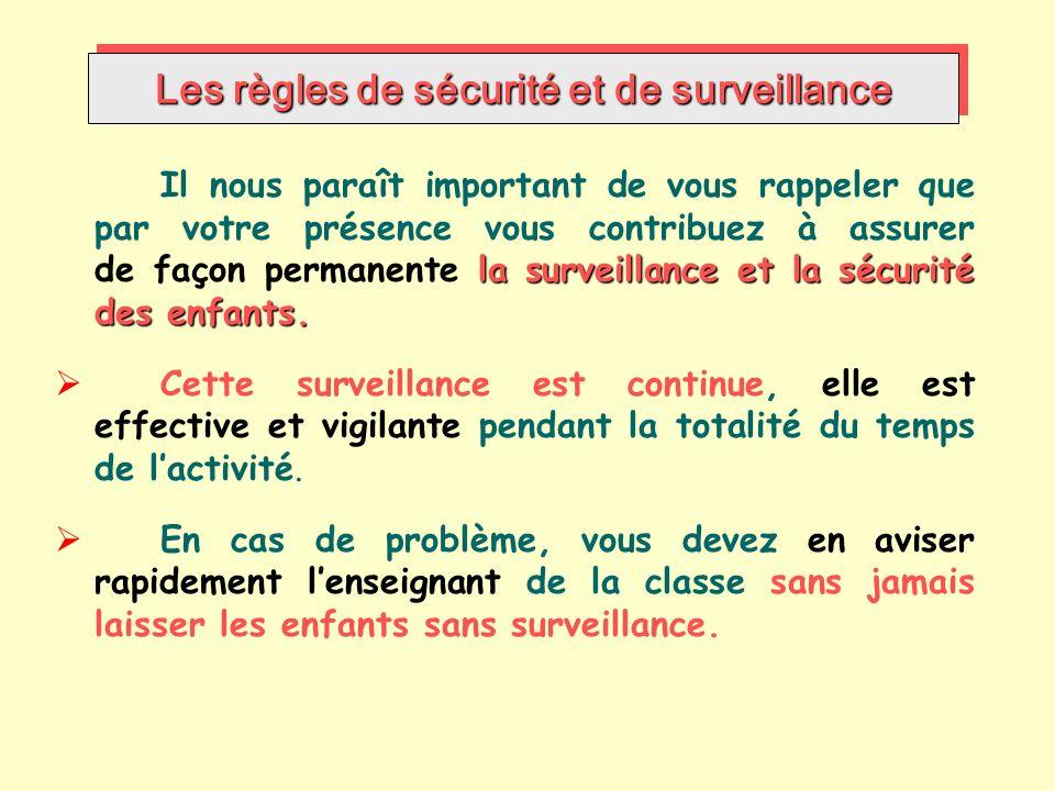Les règles de sécurité et de surveillance la surveillance et la sécurité des enfants.