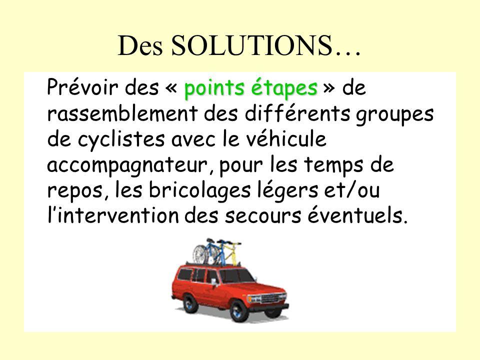 Des SOLUTIONS… points étapes Prévoir des « points étapes » de rassemblement des différents groupes de cyclistes avec le véhicule accompagnateur, pour les temps de repos, les bricolages légers et/ou lintervention des secours éventuels.