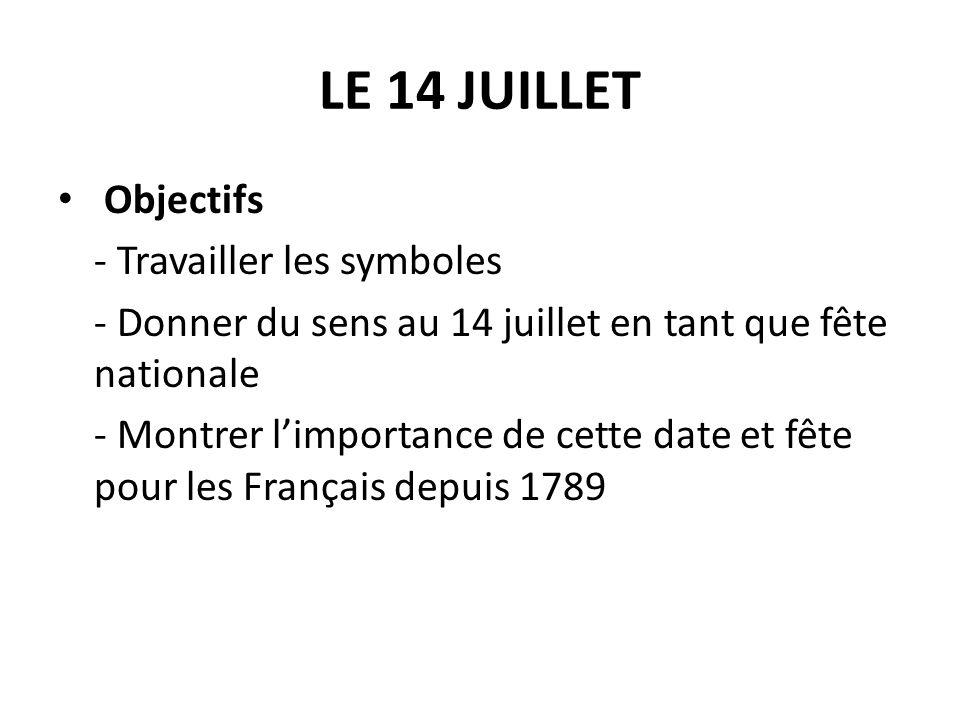 LE 14 JUILLET Objectifs - Travailler les symboles - Donner du sens au 14 juillet en tant que fête nationale - Montrer limportance de cette date et fêt