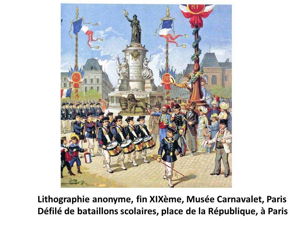 Lithographie anonyme, fin XIXème, Musée Carnavalet, Paris Défilé de bataillons scolaires, place de la République, à Paris