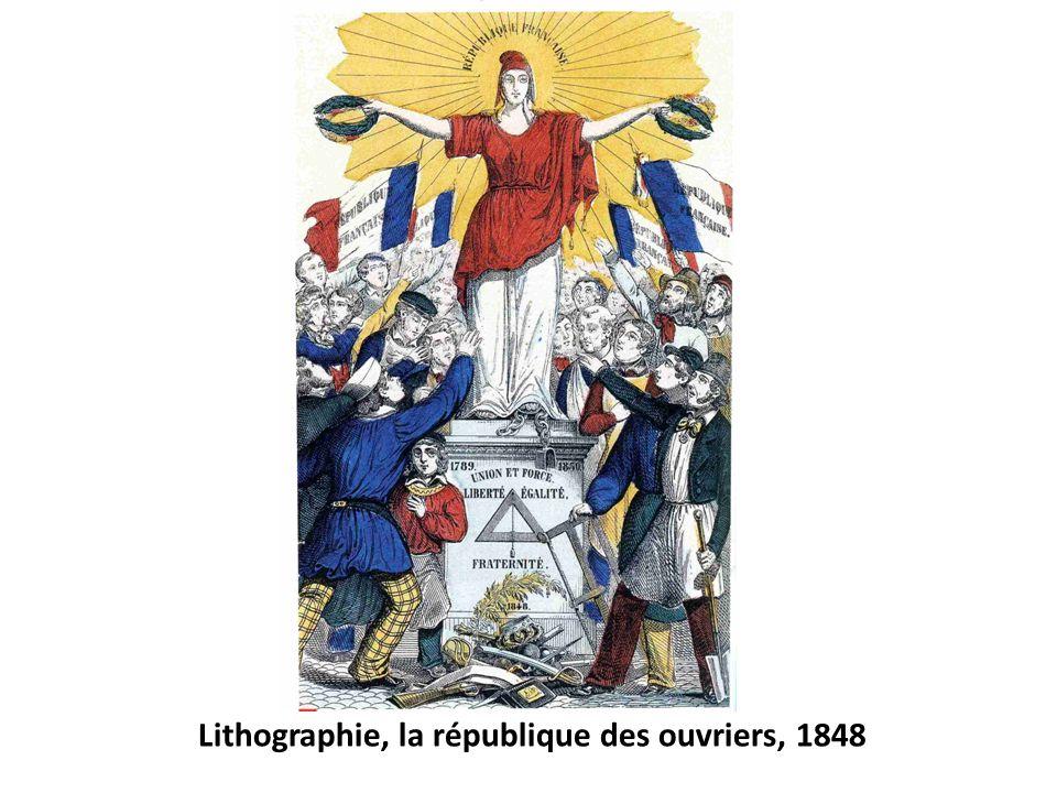 Lithographie, la république des ouvriers, 1848