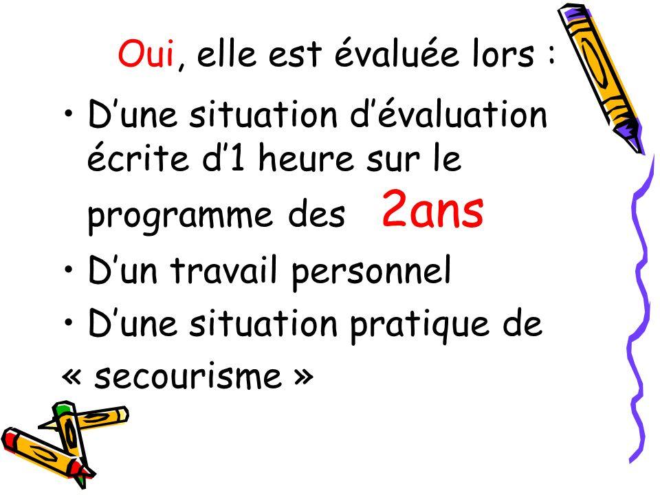 Dune situation dévaluation écrite d1 heure sur le programme des 2ans Dun travail personnel Dune situation pratique de « secourisme » Oui, elle est éva