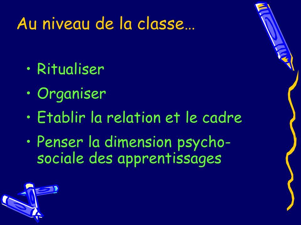 Au niveau de la classe… Ritualiser Organiser Etablir la relation et le cadre Penser la dimension psycho- sociale des apprentissages