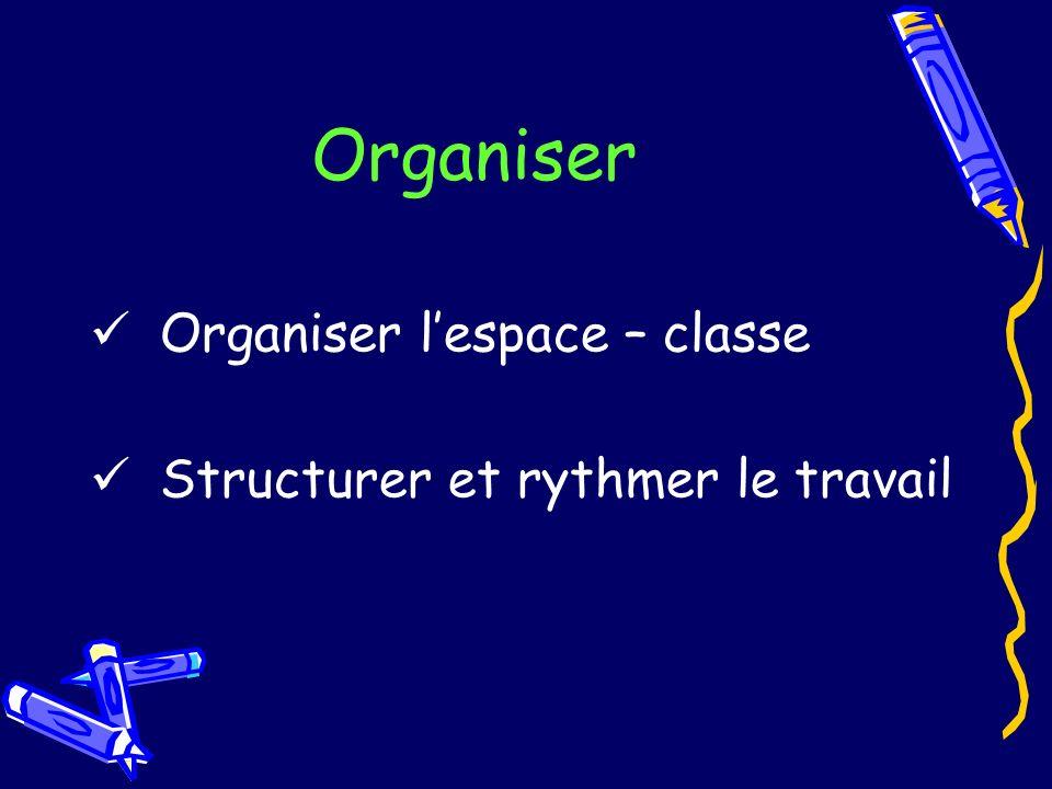 Organiser Organiser lespace – classe Structurer et rythmer le travail