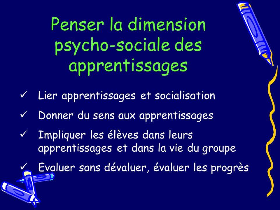 Penser la dimension psycho-sociale des apprentissages Lier apprentissages et socialisation Donner du sens aux apprentissages Impliquer les élèves dans