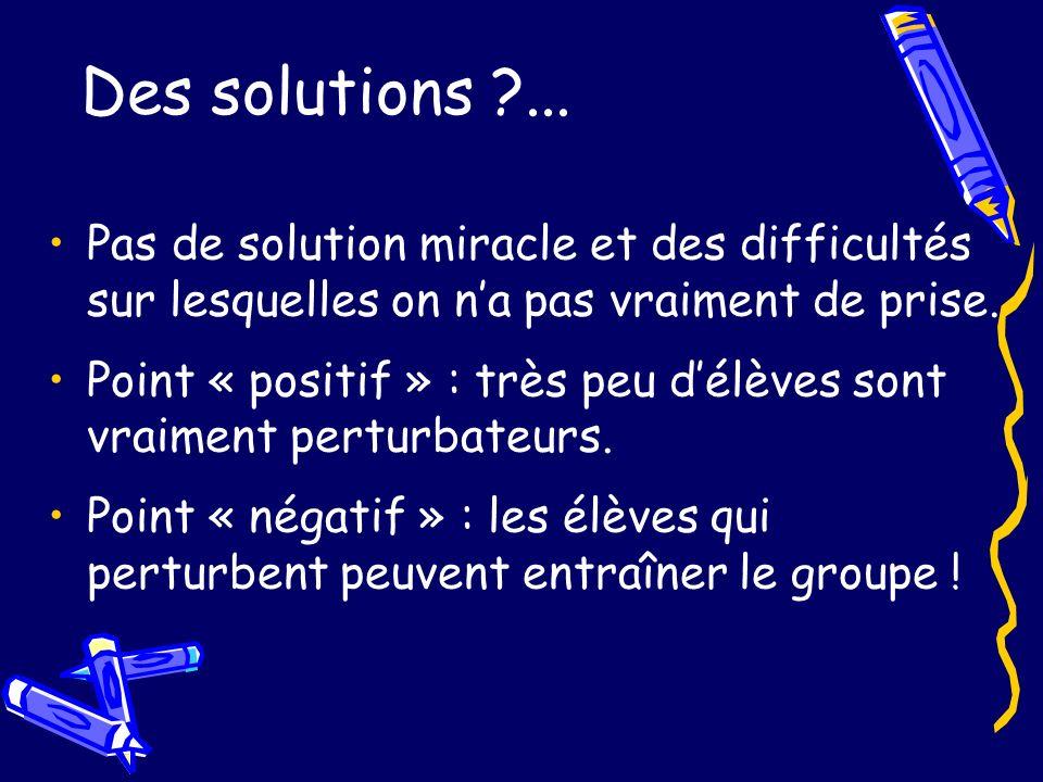Des solutions ?... Pas de solution miracle et des difficultés sur lesquelles on na pas vraiment de prise. Point « positif » : très peu délèves sont vr