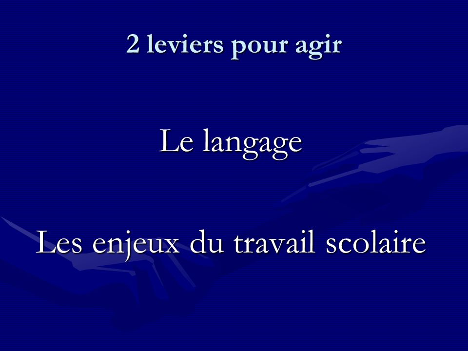 2 leviers pour agir Le langage Les enjeux du travail scolaire
