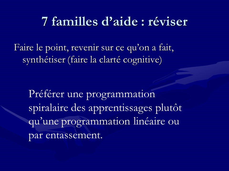 7 familles daide : réviser Faire le point, revenir sur ce quon a fait, synthétiser (faire la clarté cognitive) Préférer une programmation spiralaire des apprentissages plutôt quune programmation linéaire ou par entassement.