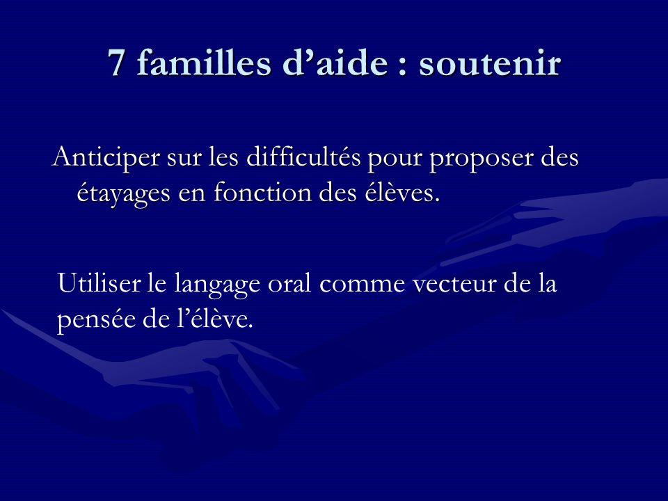7 familles daide : soutenir Anticiper sur les difficultés pour proposer des étayages en fonction des élèves.