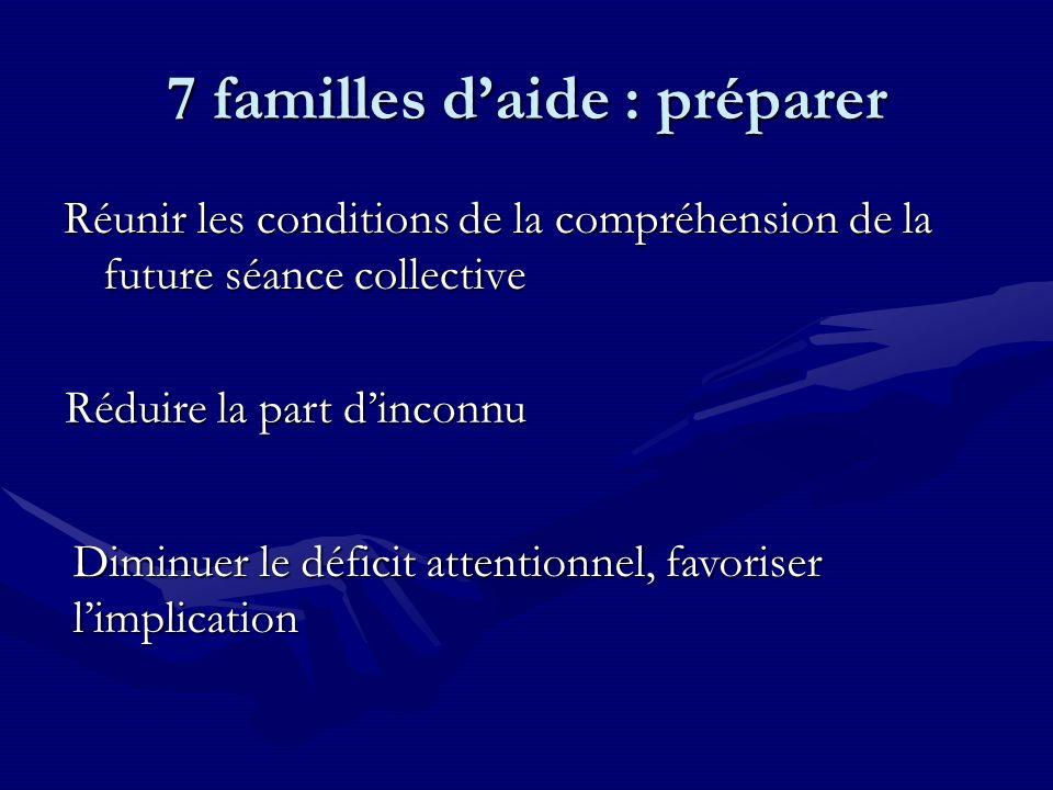 7 familles daide : préparer Réunir les conditions de la compréhension de la future séance collective Réduire la part dinconnu Diminuer le déficit attentionnel, favoriser limplication