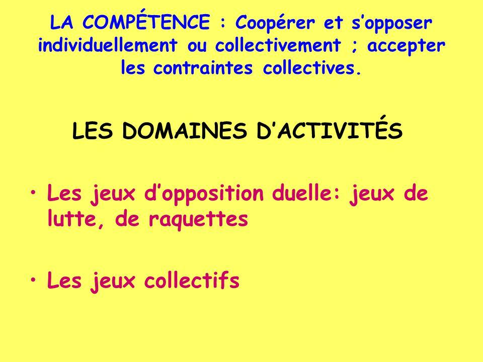 LA COMPÉTENCE : Coopérer et sopposer individuellement ou collectivement ; accepter les contraintes collectives. LES DOMAINES DACTIVITÉS Les jeux doppo