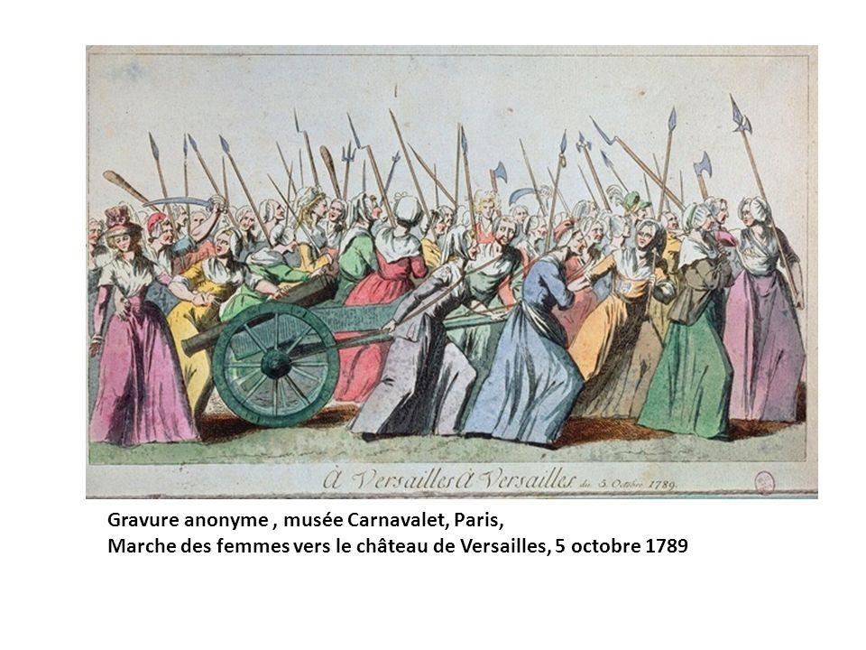 Gravure anonyme, musée Carnavalet, Paris, Marche des femmes vers le château de Versailles, 5 octobre 1789