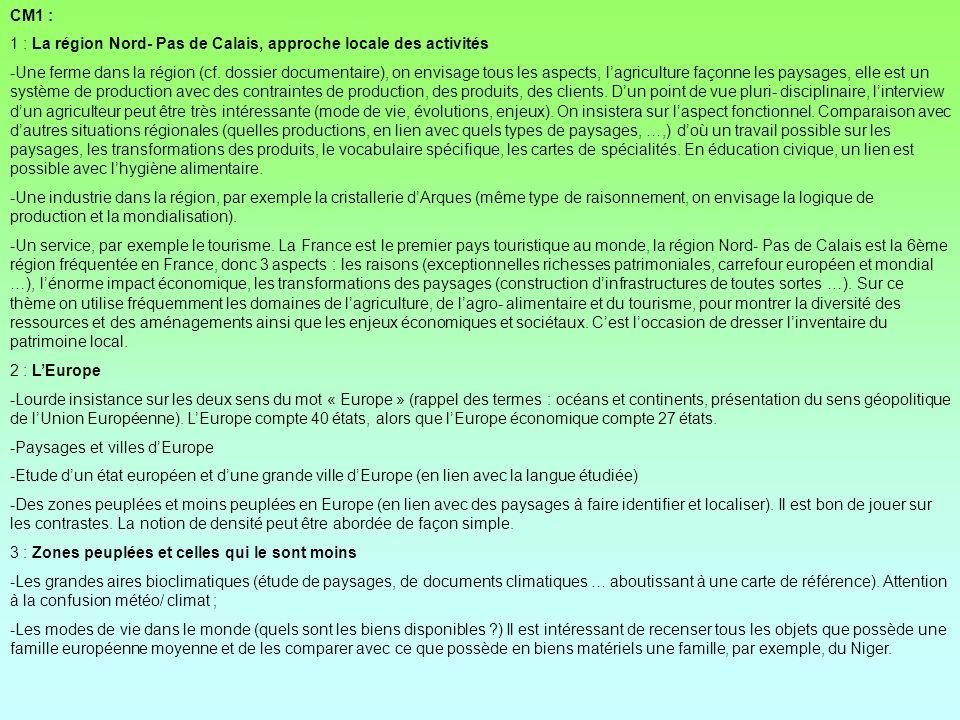 CM1 : 1 : La région Nord- Pas de Calais, approche locale des activités -Une ferme dans la région (cf. dossier documentaire), on envisage tous les aspe