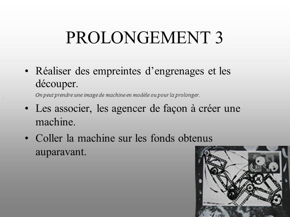 PROLONGEMENT 3 Réaliser des empreintes dengrenages et les découper. On peut prendre une image de machine en modèle ou pour la prolonger. Les associer,