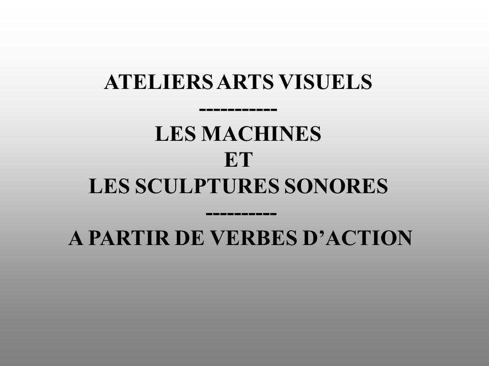 SOLLICITATIONS 1/Explorer les machines sonores (déjà construites) -Répertorier les verbes daction correspondant aux gestes effectués pour faire fonctionner ces machines.
