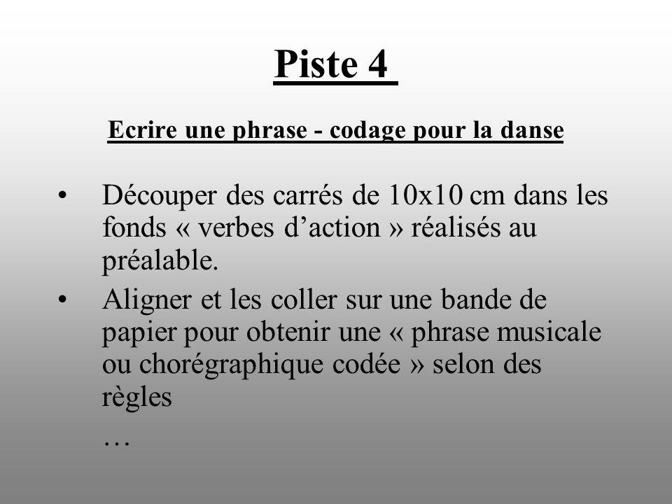 Piste 4 Ecrire une phrase - codage pour la danse Découper des carrés de 10x10 cm dans les fonds « verbes daction » réalisés au préalable. Aligner et l