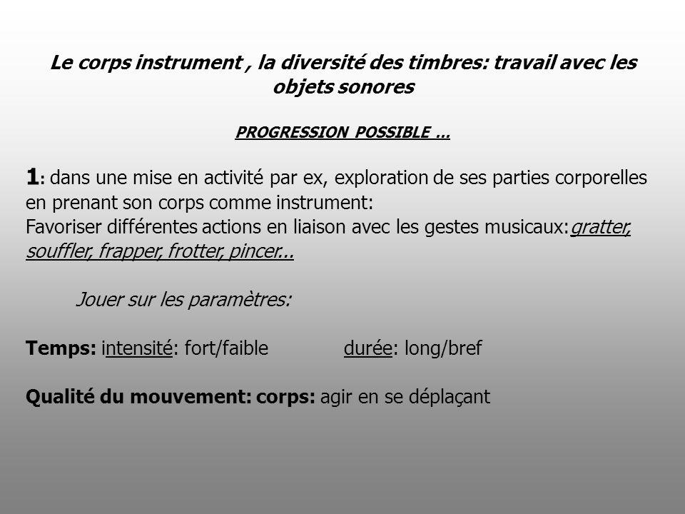 Le corps instrument, la diversité des timbres: travail avec les objets sonores PROGRESSION POSSIBLE... 1 : dans une mise en activité par ex, explorati