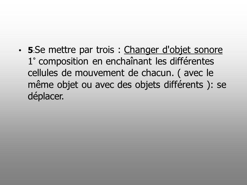 5 : Se mettre par trois : Changer d'objet sonore 1° composition en enchaînant les différentes cellules de mouvement de chacun. ( avec le même objet ou