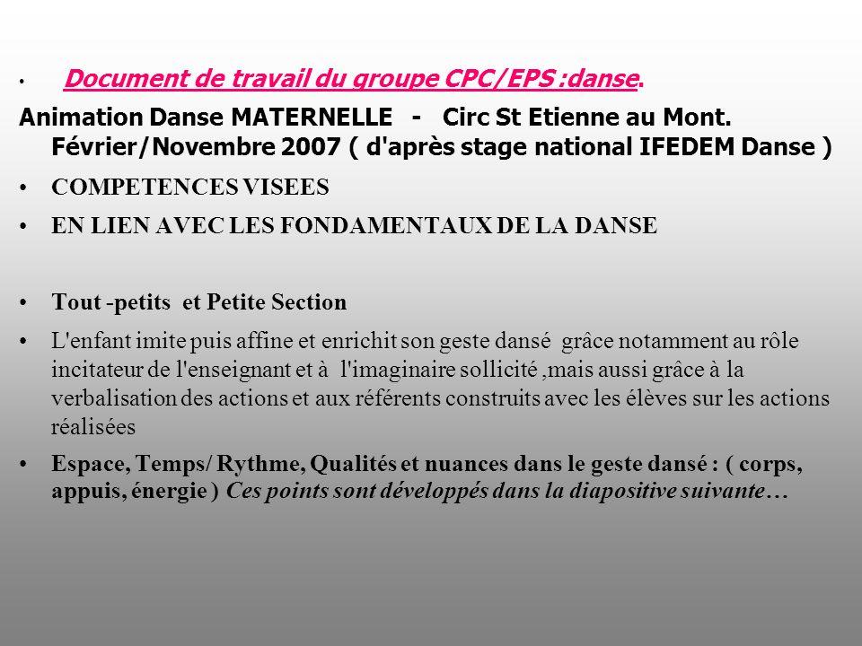 Document de travail du groupe CPC/EPS :danse. Animation Danse MATERNELLE - Circ St Etienne au Mont. Février/Novembre 2007 ( d'après stage national IFE