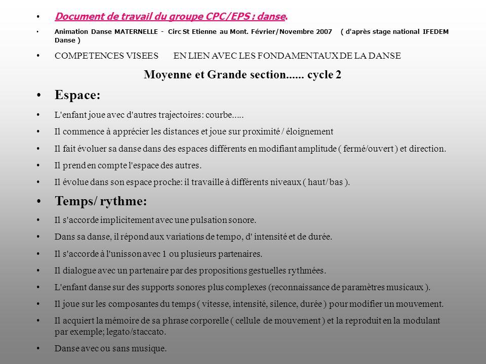 Document de travail du groupe CPC/EPS : danse. Animation Danse MATERNELLE - Circ St Etienne au Mont. Février/Novembre 2007 ( d'après stage national IF
