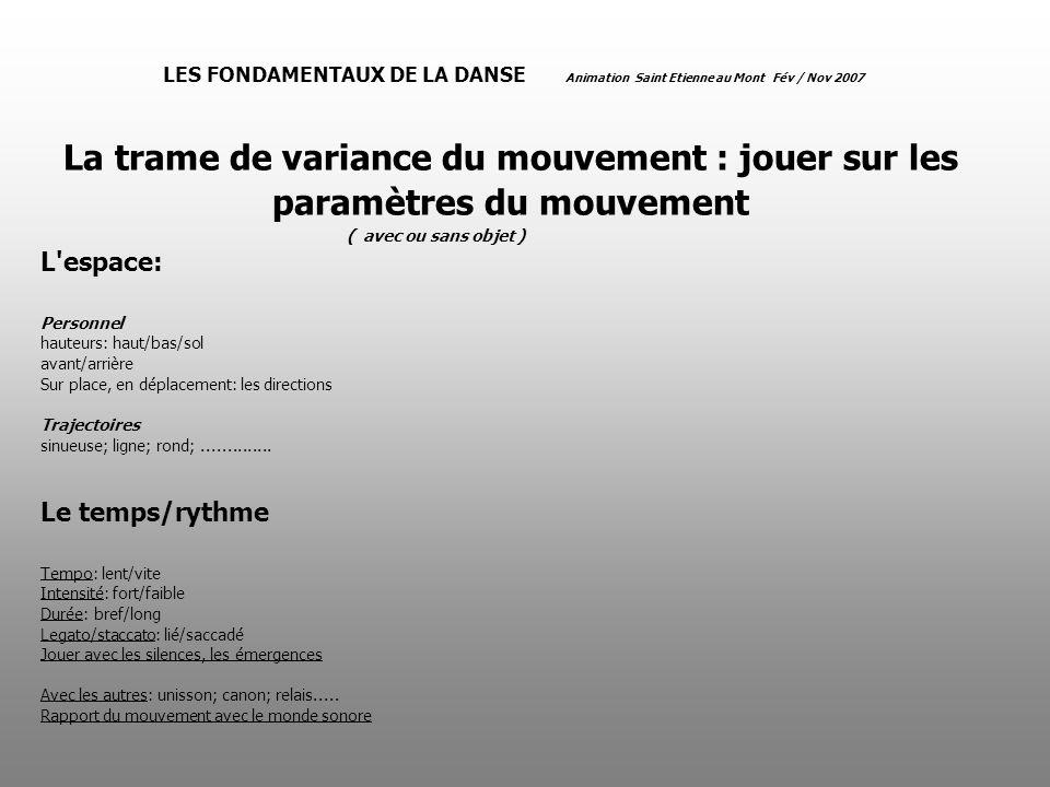 LES FONDAMENTAUX DE LA DANSE Animation Saint Etienne au Mont Fév / Nov 2007 La trame de variance du mouvement : jouer sur les paramètres du mouvement