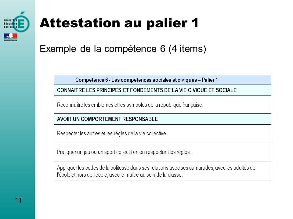 Attestation au palier 1 Exemple de la compétence 6 (4 items) Compétence 6 - Les compétences sociales et civiques – Palier 1 CONNAITRE LES PRINCIPES ET