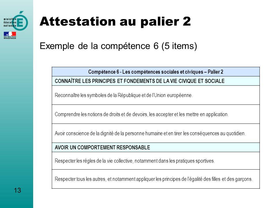 Attestation au palier 2 Exemple de la compétence 6 (5 items) Compétence 6 - Les compétences sociales et civiques – Palier 2 CONNAÎTRE LES PRINCIPES ET