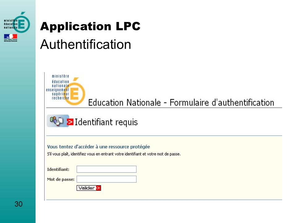 30 Authentification Application LPC
