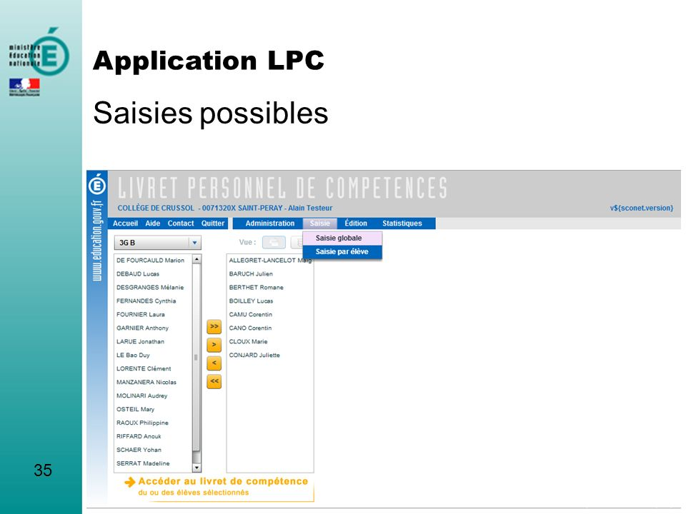 Saisies possibles 35 Application LPC