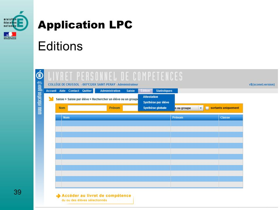 Editions 39 Application LPC