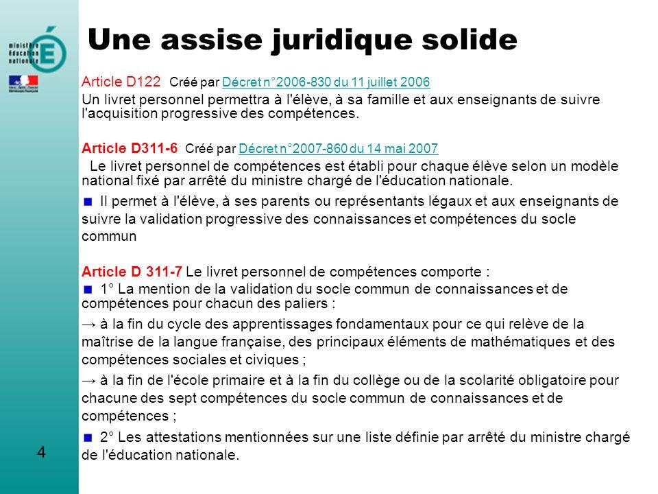 4 Une assise juridique solide Article D122 Créé par Décret n°2006-830 du 11 juillet 2006Décret n°2006-830 du 11 juillet 2006 Un livret personnel perme
