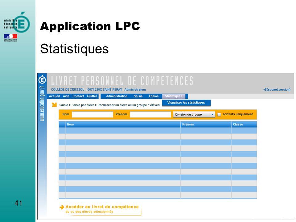 Statistiques 41 Application LPC