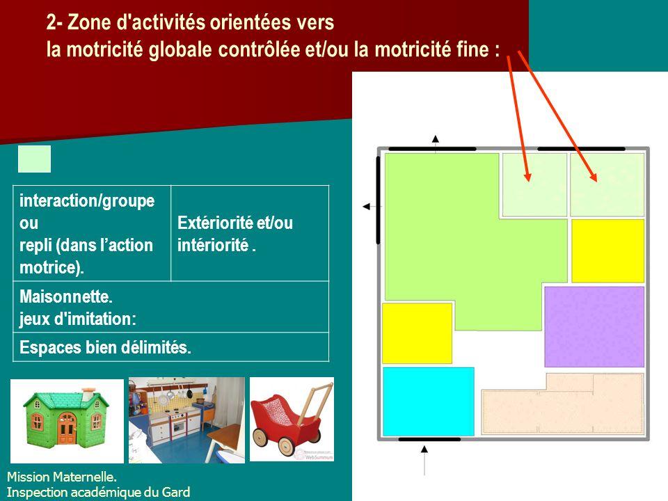2- Zone d'activités orientées vers la motricité globale contrôlée et/ou la motricité fine : interaction/groupe ou repli (dans laction motrice). Extéri