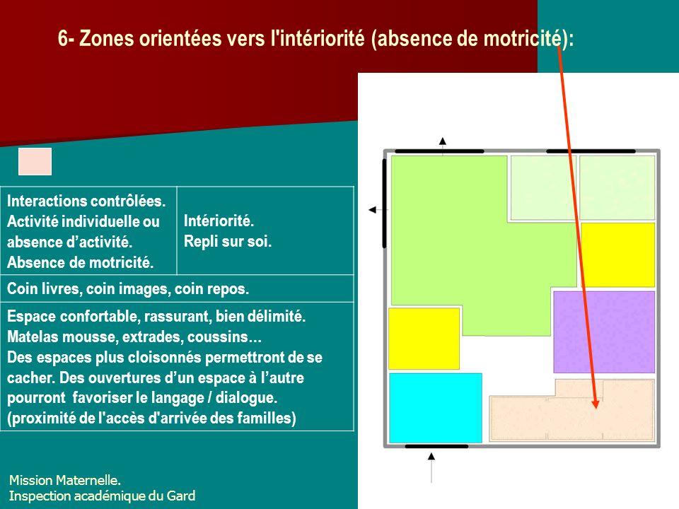6- Zones orientées vers l'intériorité (absence de motricité): Interactions contrôlées. Activité individuelle ou absence dactivité. Absence de motricit