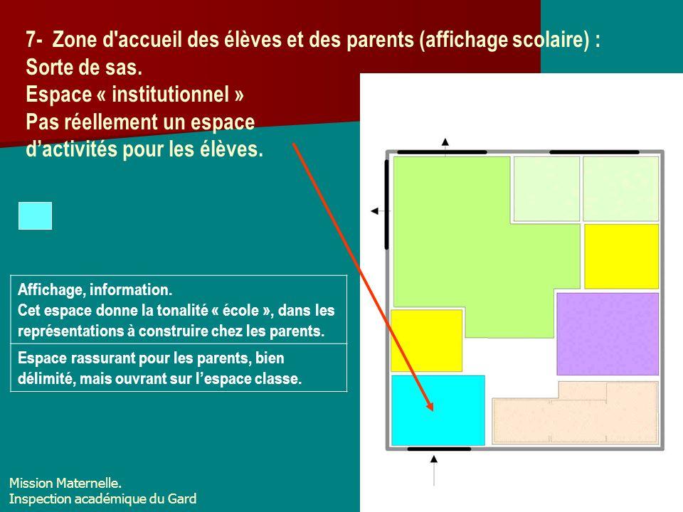 7- Zone d'accueil des élèves et des parents (affichage scolaire) : Sorte de sas. Espace « institutionnel » Pas réellement un espace dactivités pour le