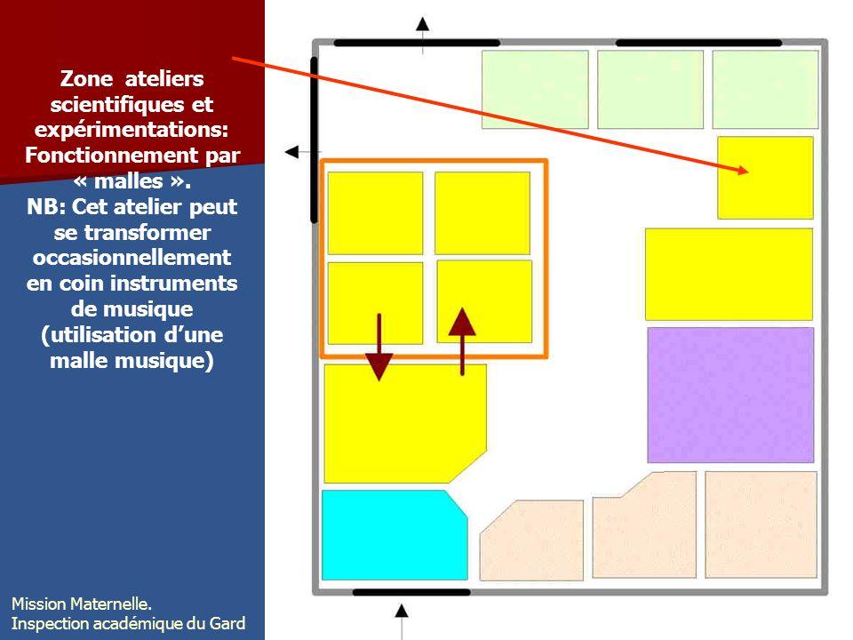 Zone ateliers scientifiques et expérimentations: Fonctionnement par « malles ». NB: Cet atelier peut se transformer occasionnellement en coin instrume