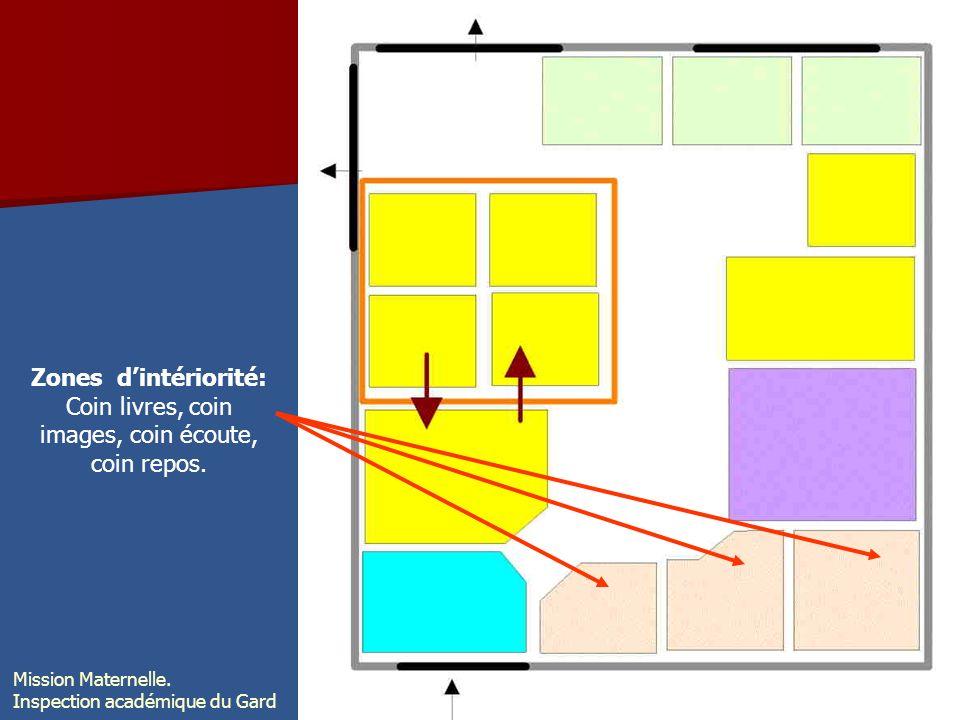 Zones dintériorité: Coin livres, coin images, coin écoute, coin repos. Mission Maternelle. Inspection académique du Gard