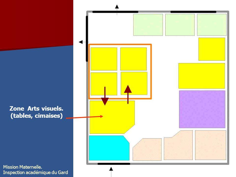 Zone Arts visuels. (tables, cimaises) Mission Maternelle. Inspection académique du Gard