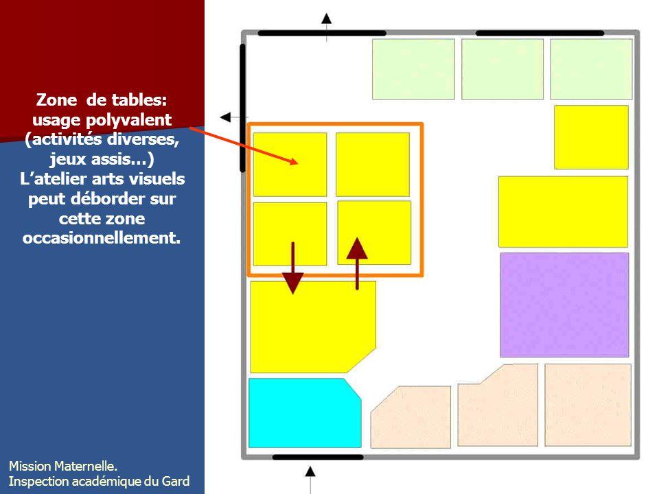 Zone de tables: usage polyvalent (activités diverses, jeux assis…) Latelier arts visuels peut déborder sur cette zone occasionnellement. Mission Mater