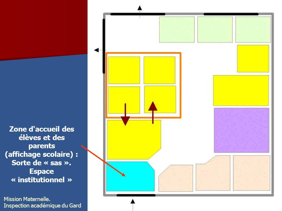 Zone d'accueil des élèves et des parents (affichage scolaire) : Sorte de « sas ». Espace « institutionnel » Mission Maternelle. Inspection académique