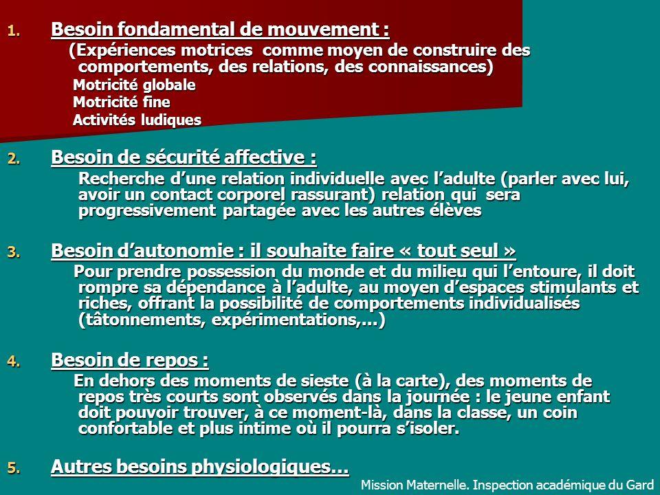 1. Besoin fondamental de mouvement : (Expériences motrices comme moyen de construire des comportements, des relations, des connaissances) (Expériences