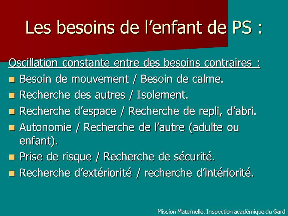 Les besoins de lenfant de PS : Oscillation constante entre des besoins contraires : Besoin de mouvement / Besoin de calme. Besoin de mouvement / Besoi
