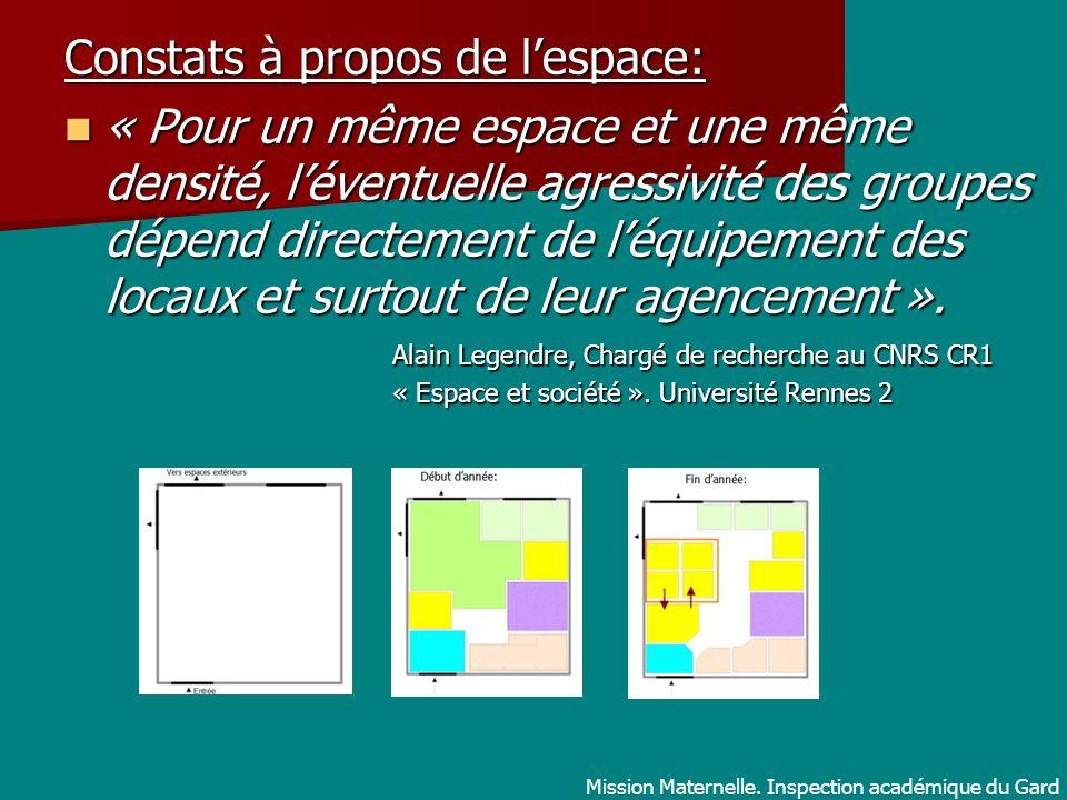 Constats à propos de lespace: « Pour un même espace et une même densité, léventuelle agressivité des groupes dépend directement de léquipement des loc