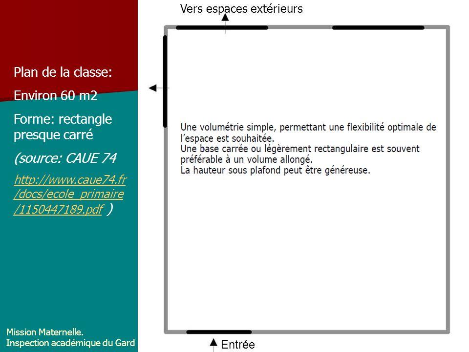 Vers espace extérieur: cour Entrée dans la classe Plan de la classe: Environ 60 m2 Forme: rectangle presque carré (source: CAUE 74 http://www.caue74.f