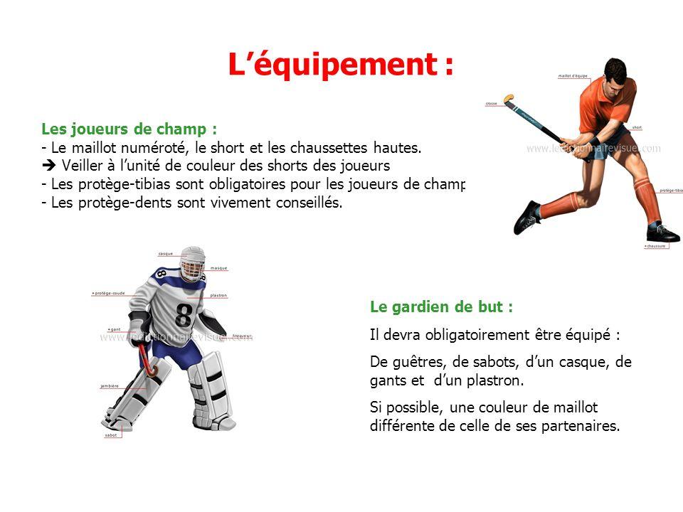 Léquipement : Les joueurs de champ : - Le maillot numéroté, le short et les chaussettes hautes.