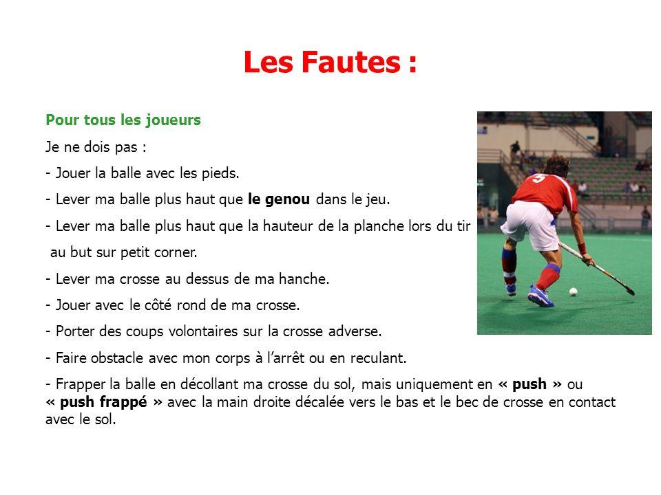 Les Fautes : Pour tous les joueurs Je ne dois pas : - Jouer la balle avec les pieds.
