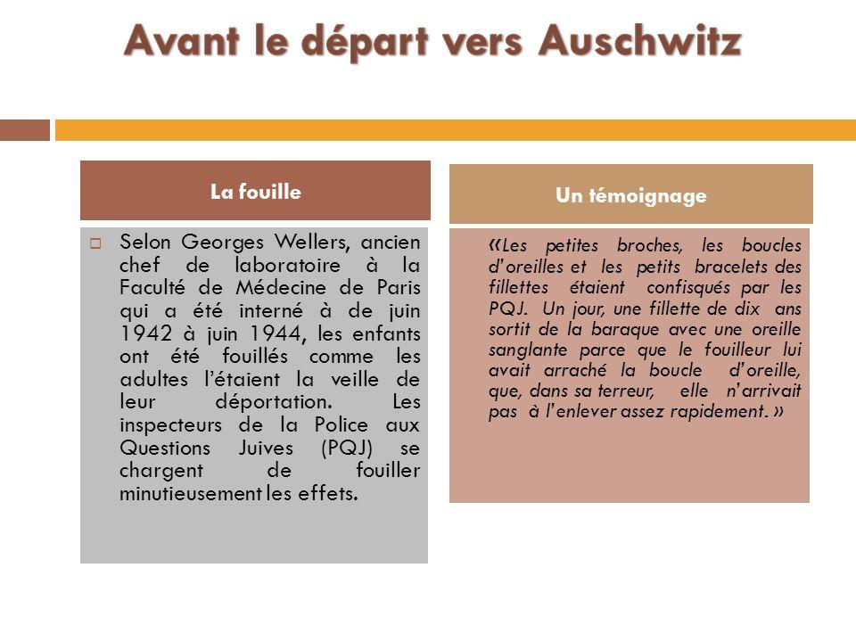 Selon Georges Wellers, ancien chef de laboratoire à la Faculté de Médecine de Paris qui a été interné à de juin 1942 à juin 1944, les enfants ont été