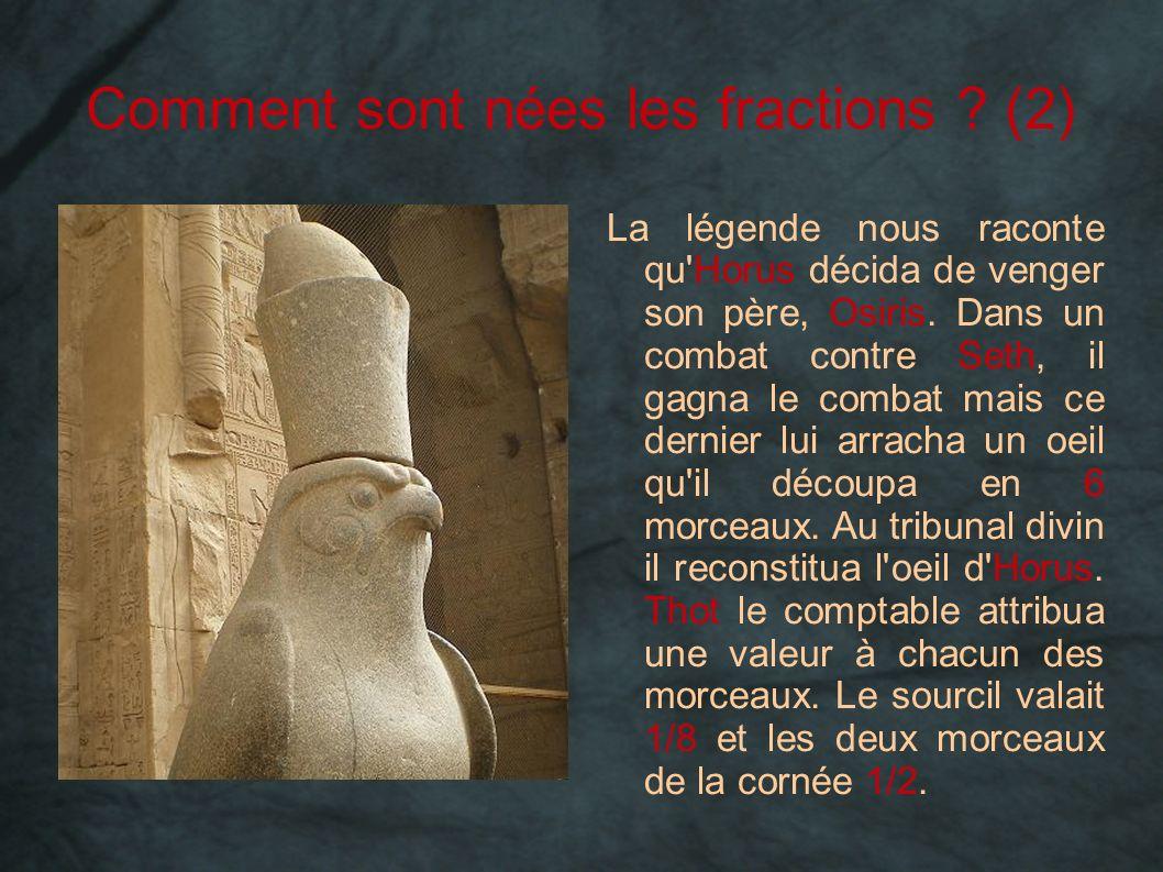 Comment sont nées les fractions ? (2) La légende nous raconte qu'Horus décida de venger son père, Osiris. Dans un combat contre Seth, il gagna le comb