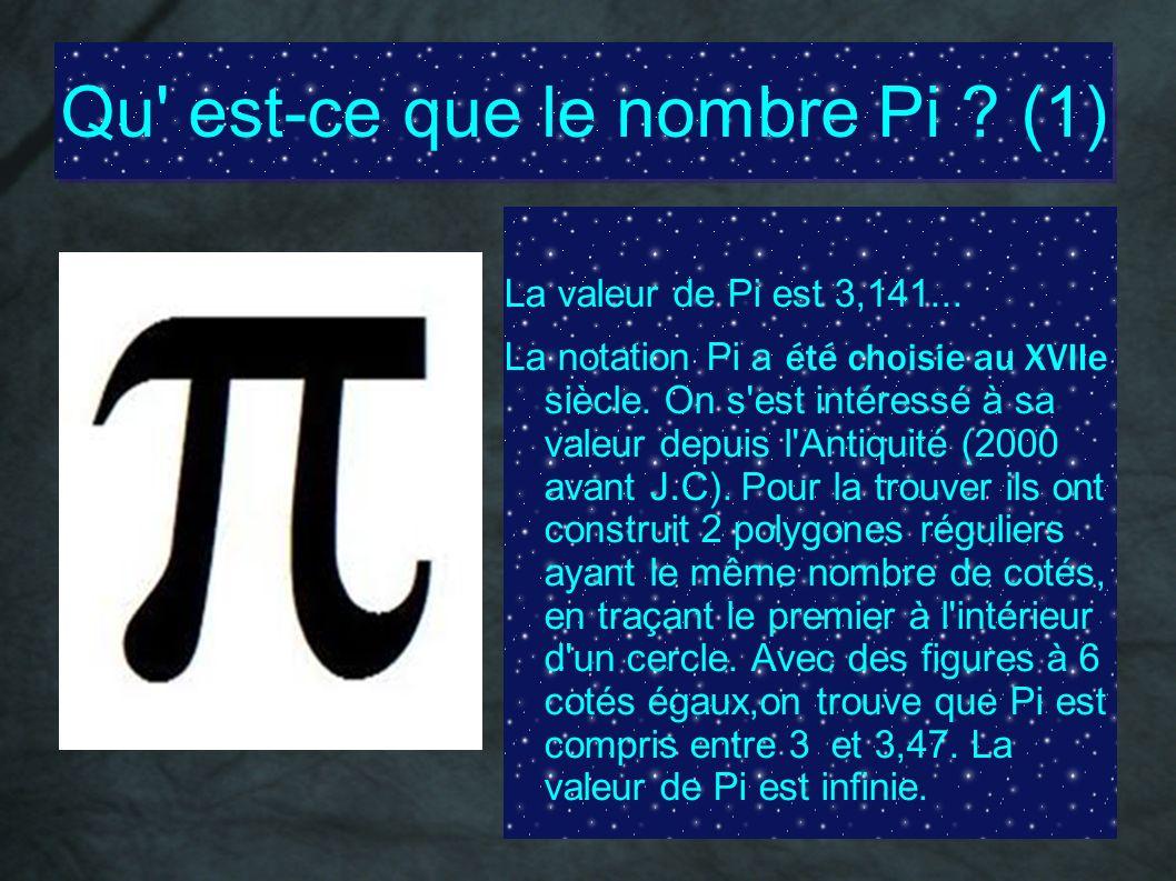 Qu' est-ce que le nombre Pi ? (1) La valeur de Pi est 3,141... La notation Pi a été choisie au XVIIe siècle. On s'est intéressé à sa valeur depuis l'A