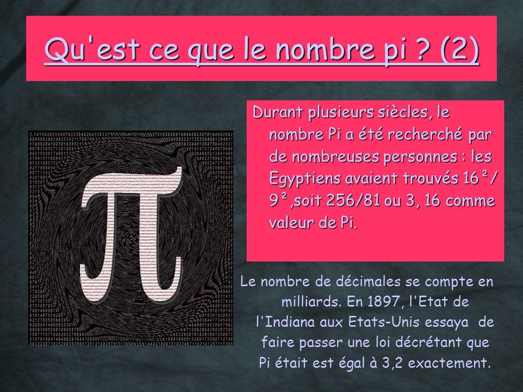 Qu'est ce que le nombre pi ? (2) Durant plusieurs siècles, le nombre Pi a été recherché par de nombreuses personnes : les Egyptiens avaient trouvés 16